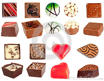 Isolated chocolates set
