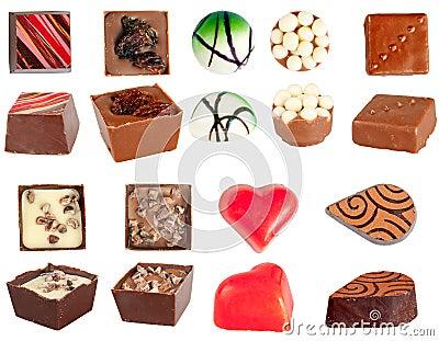 Isolated chocolates set
