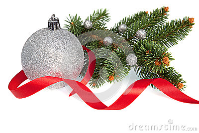 Isolated Christmas ball with Ribbon and Pine