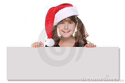 Isolated Christmas Child Holding SIgn on White