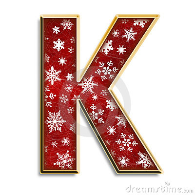 Isolated Christmas letter K in red