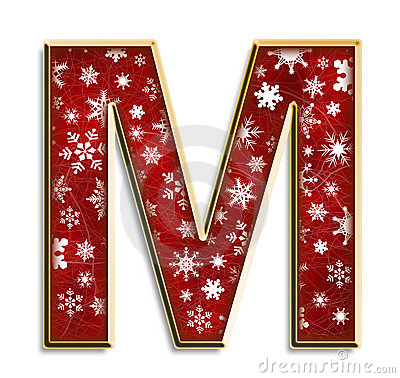 Isolated Christmas letter M in red