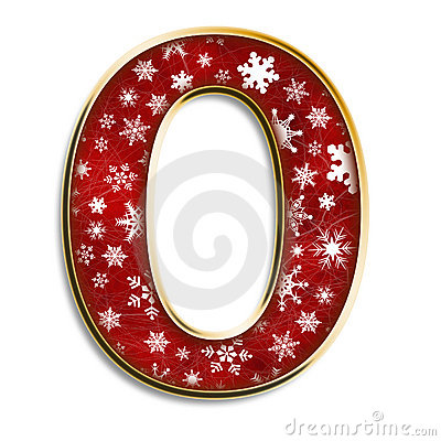 Isolated Christmas letter O in red