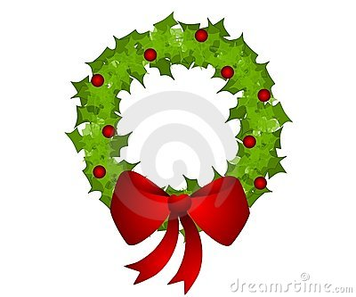 Isolated Christmas Wreath Bow