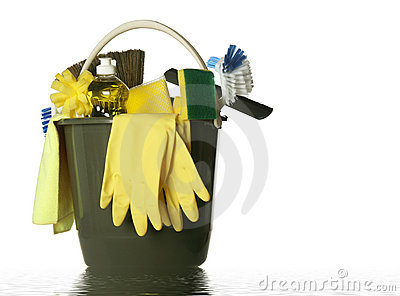 Isolated cleaning supplies wet bucket