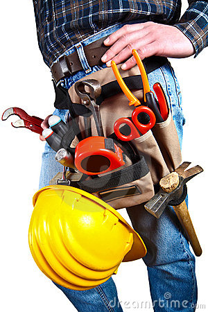 Free Isolated Close-up Of Worker With Tools Stock Photography - 5551112