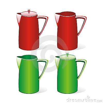 Isolated colored tea jugs