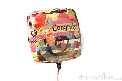 An Isolated Colorful congratulations balloon on white background
