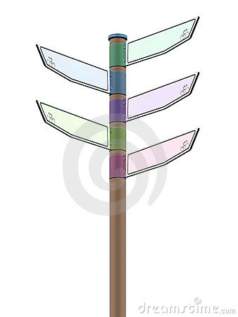Isolated colorful direction signpost
