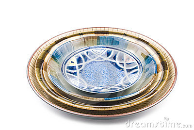 Isolated colorful pottery dish
