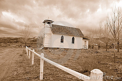 Isolated Country Chapel in Winter