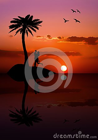 Isolated couple on the island at sunset
