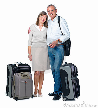 Isolated couple ready to travel the world