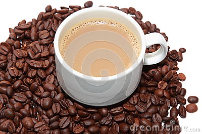 Isolated cup of milk coffee