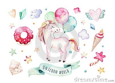 Isolated cute watercolor unicorn clipart. Nursery unicorns illustration. Princess rainbow unicorns poster. Trendy pink Cartoon Illustration