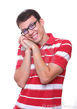 Isolated cute young man smiling with glasses