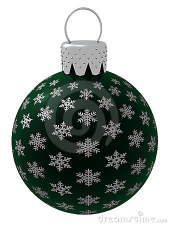 Isolated Dark Green Christmas Ornament