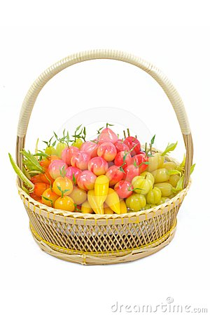 Isolated deletable imitation fruits in Basket.