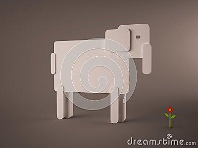 Isolated digital elephant concept