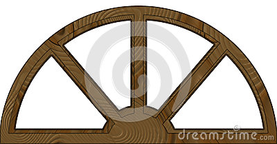 Isolated Double Layered Arched Wooden Window Frame