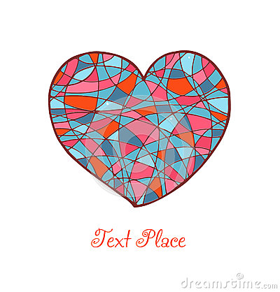 Isolated drawn heart. Love banner. Romantic mosaic