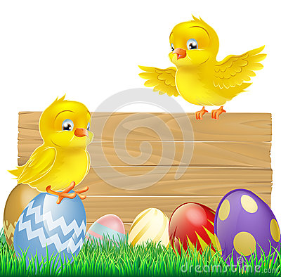 Isolated Easter Sign with Eggs and Chicks