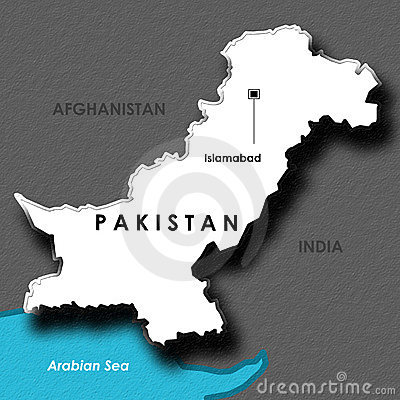 Isolated Embossed Map of Pakistan
