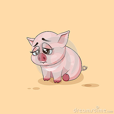 Free Isolated Emoji Character Cartoon Pig Sad And Frustrated Sticker Emoticon Royalty Free Stock Images - 71686989