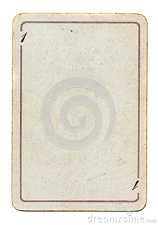 Isolated  empty old playing card paper