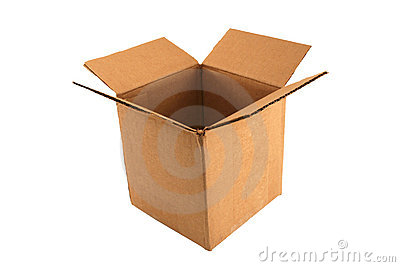 Isolated Empty open cardboard box