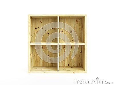 Isolated empty pine box