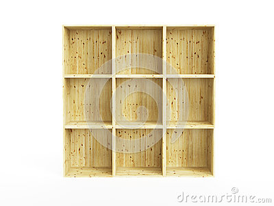Isolated empty pine shelf