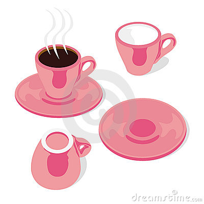 Isolated espresso cups and saucers