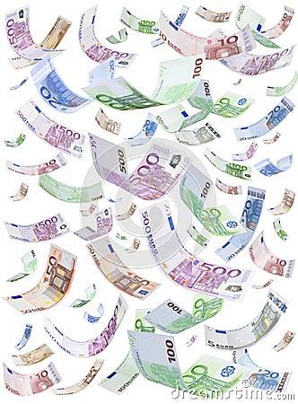 Isolated Euros Raining Falling