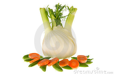 Isolated fennel with sugar snaps and carrots