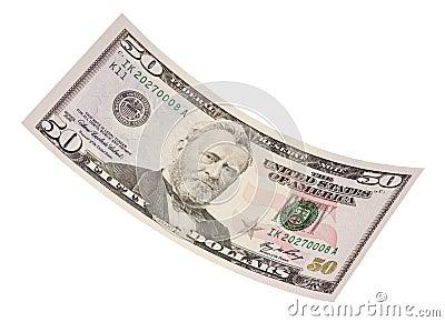 Isolated Fifty Dollar Bill