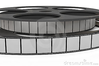 Isolated film reel closeup