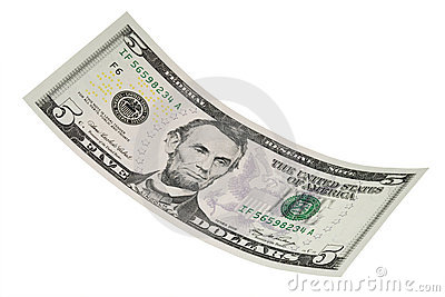 Isolated Five Dollar Bill