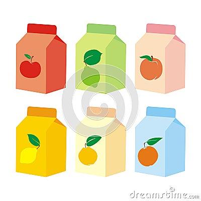 Isolated fruit juice carton boxes