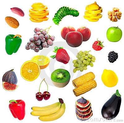 Isolated fruit, vegetables and nuts