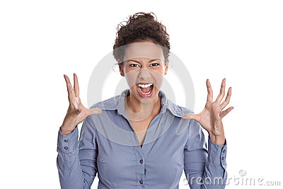 Isolated frustrated shouting woman waist up on whi