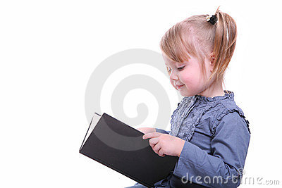 Isolated girl with a book reading