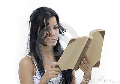 Isolated girl reading a book