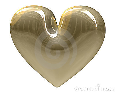 Isolated golden heart xmass (3D)
