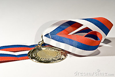 Isolated golden medal