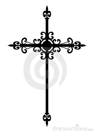 Isolated gothic black cross