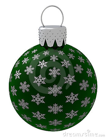 Isolated Green Christmas Ornament