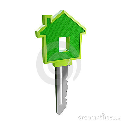 Free Isolated Green Eco House Key 03 Stock Photos - 5284703