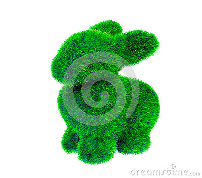 Isolated green grass rabbit