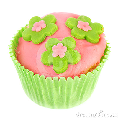 Isolated green and pink cupcake